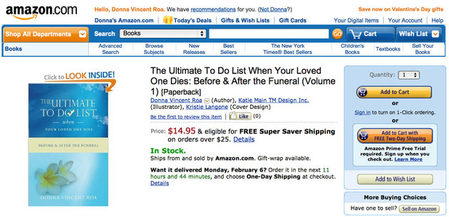 funeral to do list, amazon.com, the ultimate to do list when your loved one dies, funeral planning