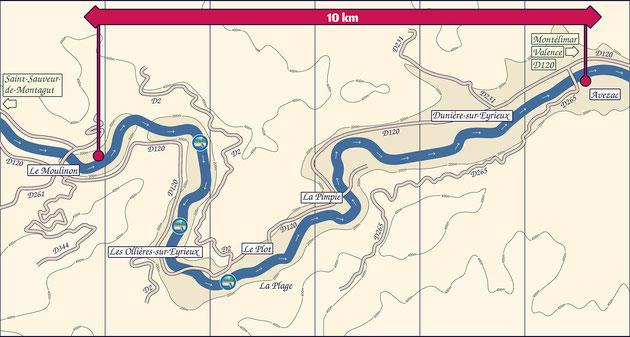 Descente de L'Eyrieux au départ des Ollières sur Erieux (en Ardèche). Carte de la descente en canoë kayak, du Moulinon à Dunière sur Eyrieux.