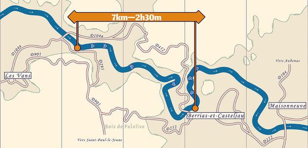 Carte de la descente en canoë kayak du Chassezac de 7 km, entre les Vans et Mazet.