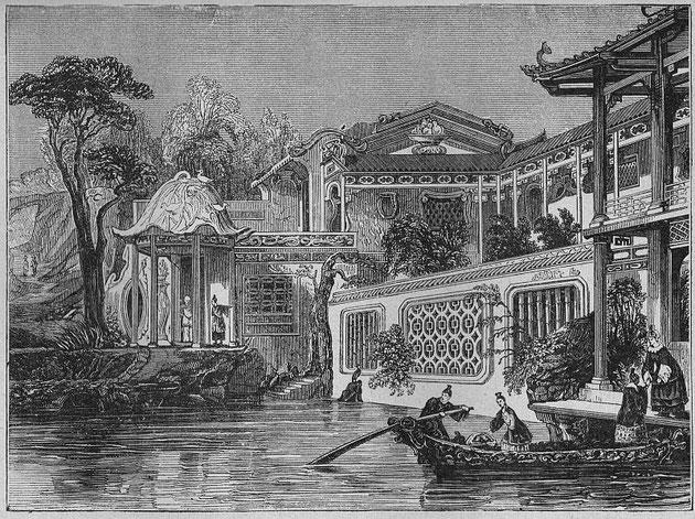 Petits kiosques, ponts jetés gracieusement sur les ruisseaux, saules pleureurs, pêchers, monticules, vallées, tout ce qui constitue un jardin chinois s'y retrouve à profusion.