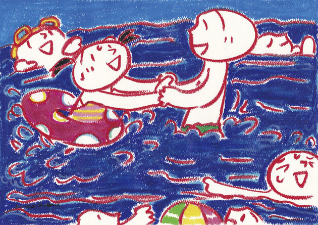 海で遊ぶ親子のイラスト 茶谷順子