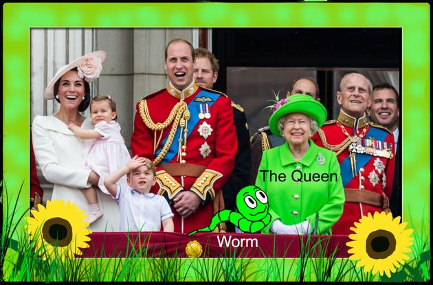 Walter le vers de terre qui apprend vos enfants l'anglais avec la reine de l'Angleterre.