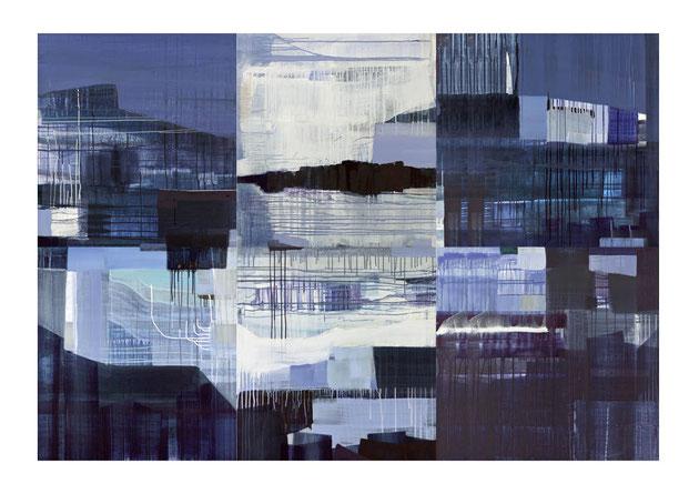 Zeitfenster, 2014, Malerei auf sechs Leinwänden, 240 x 160 cm