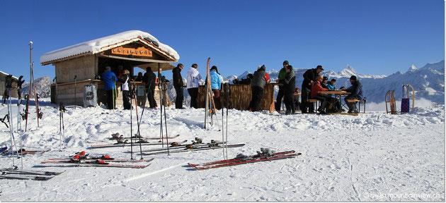 Enzianbar - the perfect place to get a hot drink on a cold winters day - beautiful view included.