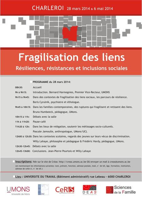 Fragilisation des liens. Résiliences, résistances et inclusions sociales - colloque du 28 mars 2014