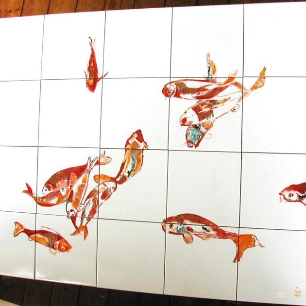 poissons rouges - dim. 122,5 cm x 78 cm epais. 7 mm - 250 €