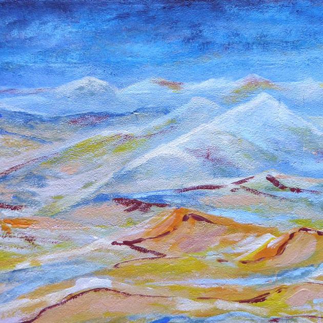 Eiswüste, Acryl und Sand auf Leinwand, 30x40 cm, 150€