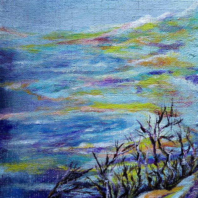 Karge Landschaft, Acryl auf Jute, 50x40 cm, 230€