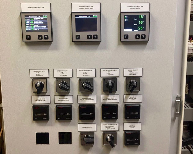 switch box, front panel, analogue hour counter, pump control, burner control, electric controller
