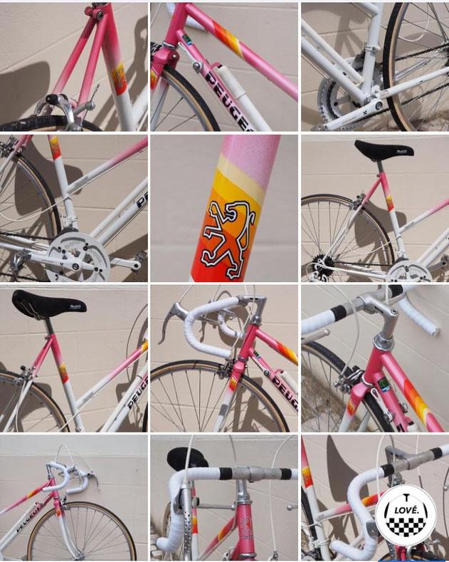 mosaïque vélo Peugeot rose
