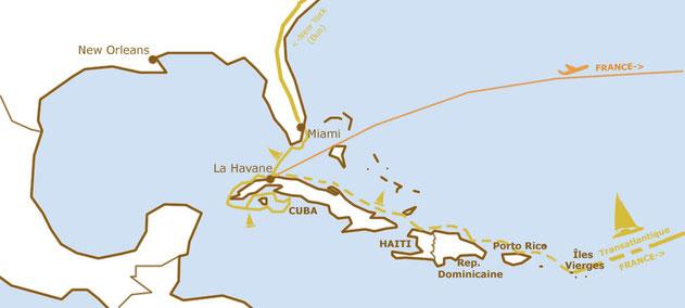 Itinéraire et options de la dernière aventure avant la France (cliquer pour agrandir)
