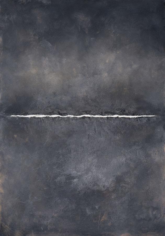 abstraktes Bild · Weiss · Grau · Blau · Schwarz · Horizont · Leinwand · Patrick Öxler · Wiede Fabrik · Atelier