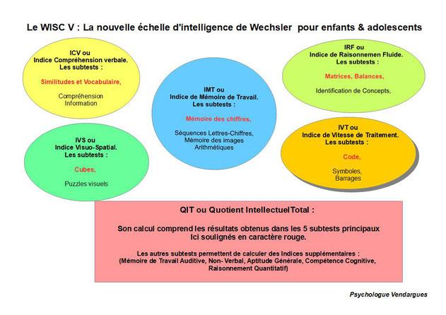 Structure de l'echelle d'intelligence de Wechsler pour enfant et adolescent ou WISC V . Nouvele édition du WISC utilisé dans le cadre d'un bilan psychologique
