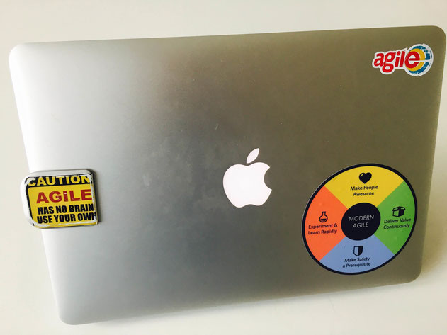 The back of my mac - with the 'modern agile' sticker.