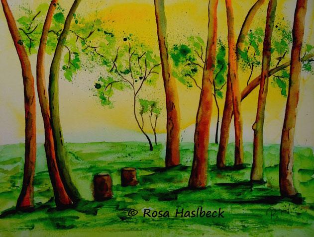 aquarell landschaft, wald, bäume, sommer, gelb, grün, braun, gelb, kunst, bild, kaufen