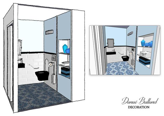 Vue 3D toilettes handicapé Danaé Balland décoration