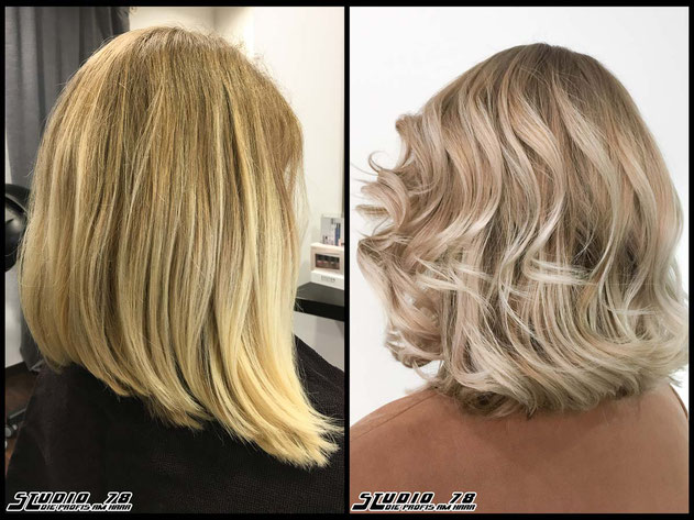 Coloration Haarfarbe balayageblonde  nudeblonde blonde bright-white-blonde hellblond blond coloration vorher nachher