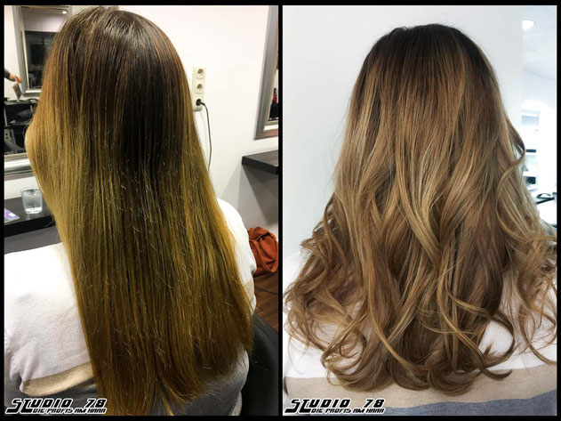 Coloration Haarfarbe bronde caramel-balayage haircolor karamell coloration vorher nachher