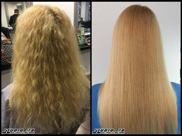 Kerasilk Keratin permanente Haarglättung extreme hair-straightening permanent straightening anti-frizz vorher nachher