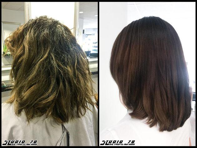 Kerasilk Keratin permanente Haarglättung extreme hair-straightening permanent straightening haircolor coloration haarfarbe braun vorher nachher