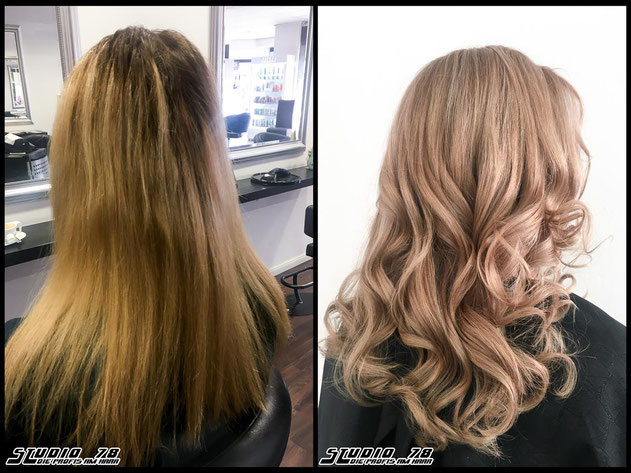 Coloration Haarfarbe champagne-blonde nudeblonde blonde champagner-blond blond coloration vorher nachher