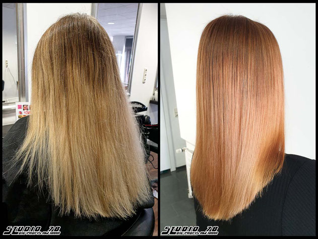 Coloration Haarfarbe kupfer copper haircolor coloration vorher nachher