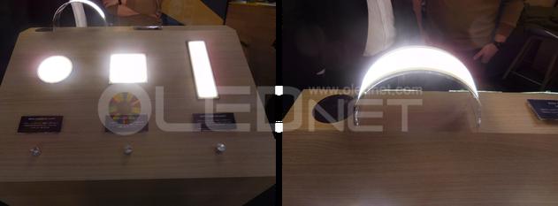 <Light+Building 2018で公開されたBrite 3シリーズのOLED照明パネル>