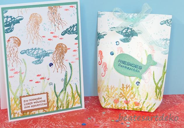 beatesartdeko | Fortsetzung von der Produktreihe Meereswelt | Projekt 3 | Karte 4 | Desingnerpapier aus einem A4- Farbkarton selbermachen