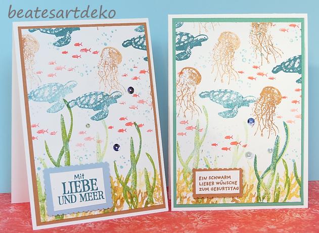 beatesartdeko | Fortsetzung von der Produktreihe Meereswelt | Projekt 3 | Karte 1 | Desingnerpapier aus einem A4- Farbkarton selbermachen