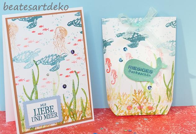 beatesartdeko | Fortsetzung von der Produktreihe Meereswelt | Projekt 3 | Karte 2 | Desingnerpapier aus einem A4- Farbkarton selbermachen