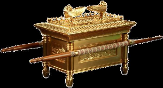 L'Arche de l'alliance, symbole de la puissance de Dieu est faite en bois d'acacia et en or pur. Elle est recouverte par un couvercle appelé le propitiatoire.