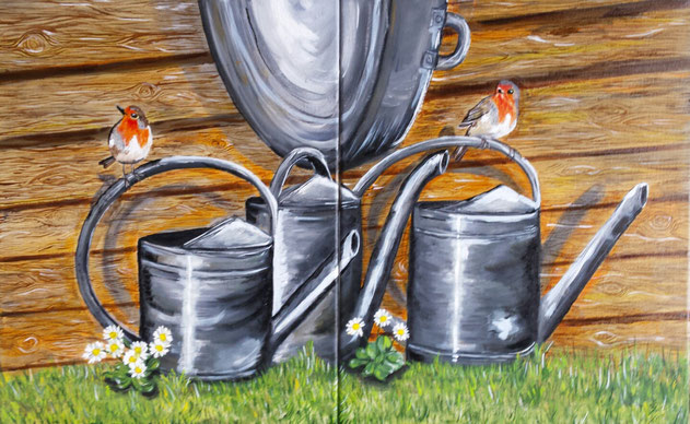 11./12.Zinc watering can part 1 and part 2 both 40x50 cm Tweeluik