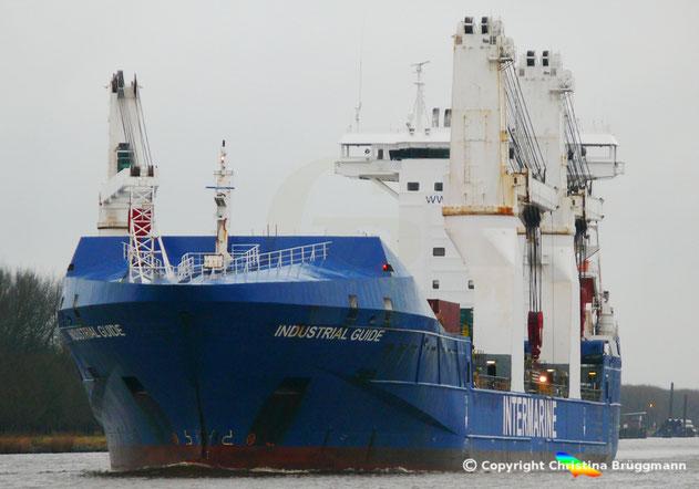 """Intermarine Schwwergutfrachter INDUSTRIAL GUIDE"""" auf dem Nord-Ostsee-Kanal 31.12.2017"""