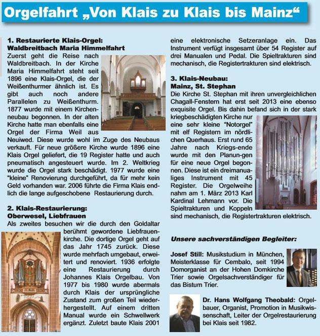 Orgelförderverein, Orgelfahrt, Klais-Orgel, Hl. Dreifaltigkeit, Weißenthurm