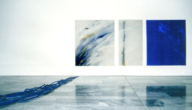 Blaues Treibholz, Acryl und Lack  1991  2x 160 x180 cm, 1x 75 x 180 cm