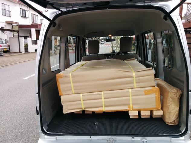 土のうステーション(折畳式土のうボックス)、木製スノコ、土のうステーションカバー積込状況