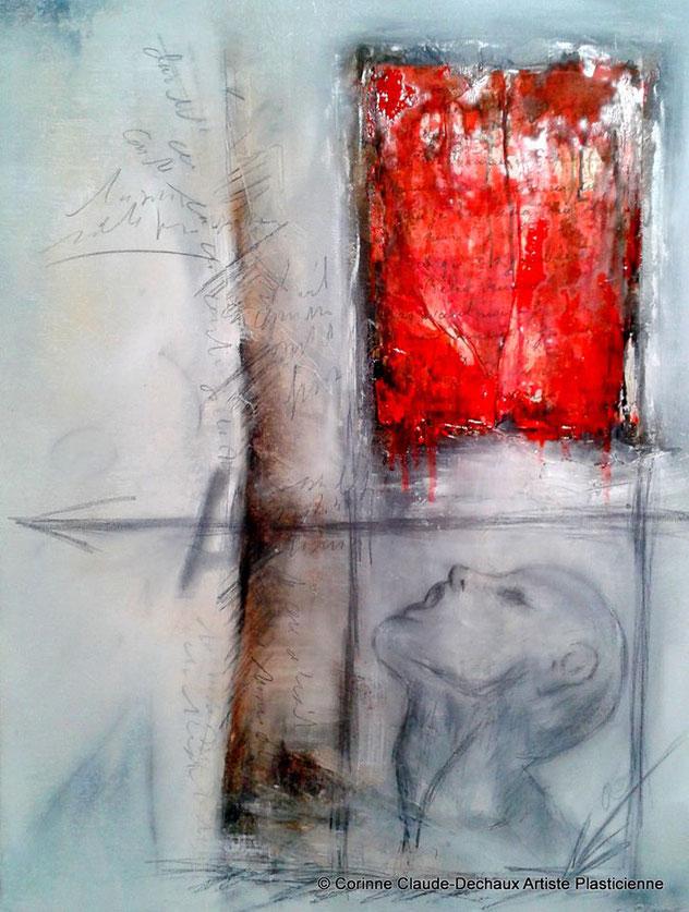 Exil- Huile et mine de plomb sur toile 65x54  Exil- Oil on canvas