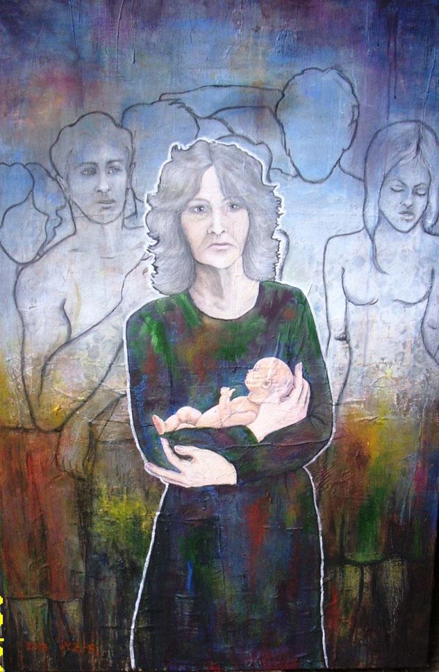 Das verlorene Ich, Acryl auf Leinwand, 100 x 150 cm. Das Bild thematisiert die veränderte Wahrnehmung Demenzkranker. 2013
