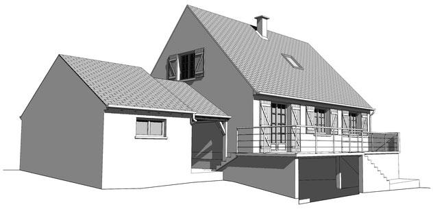 élévation en 3d pour dossier de permis de construire, réalisée sur sketchup pro