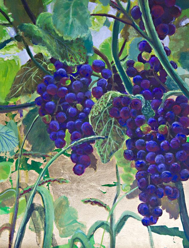 gemälde, malerei, tanja gott, garden, holy, gold, gold painting, grapes, trauben, garten, pflanzen, wein