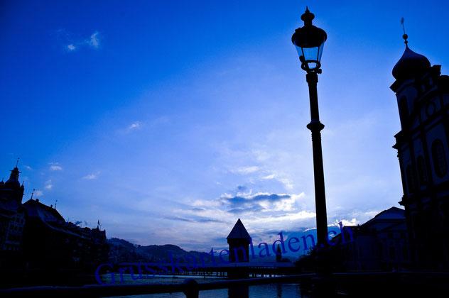 Luzern Glückwunschkarte Kapellbrücke