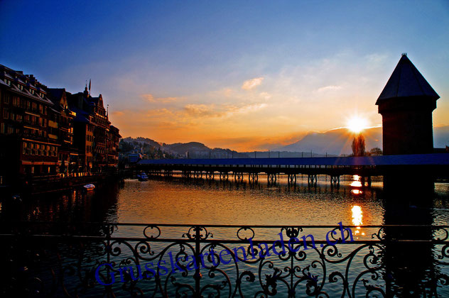 Luzern Grusskarten Kapellbrücke