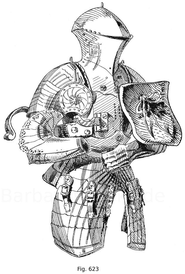 Fig. 623. Deutsches Stechzeug mit aufgebundener Stechtartsche des Kaisers Maximilian I. Blank, gekehlt mit gotisch durchbrochenen Rändern. Der gotisch durchbrochen gearbeitete Luftgeber an der rechten Helmwand ist von italienischer Form. Deutsch. Um 1490.