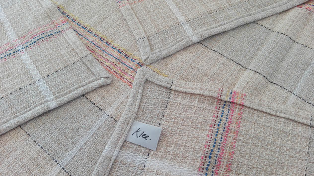 masterly handwoven childrens blanket by unsing recycled yarn by weaving studio KLEE