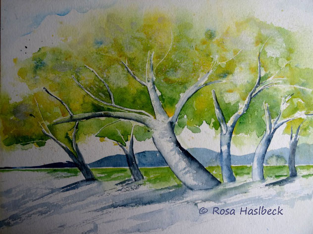 aquarell, herbst, bild, kunst, kaufen, kunst kaufen, malen , bäume, blau, gelb, grün