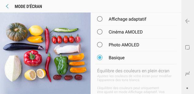 Mode d'affichage sur Samsung Galaxy S9