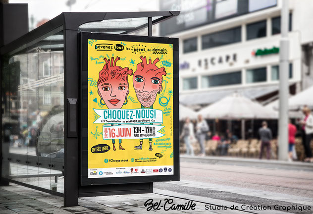 Affiche Abris-bus de Studio Bel-Camille, pour l'évènement Choquez-nous à Bordeaux
