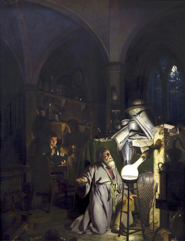 """Joseph Wright of Derby, """"L'alchimista scopre il filosofo"""" (1771)"""