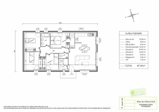 plan de cellule pour une maison individuelle en forme de rectangle