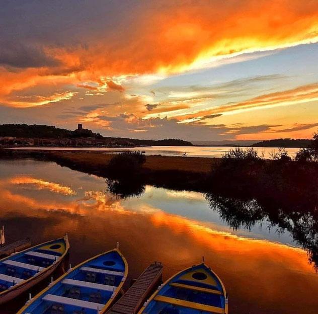 Bild: Gruissan im Sonnenuntergang